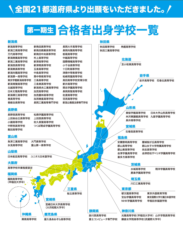 全国21都道府県より出願をいただきました